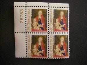 Scott 1321, Christmas Madonna & Child, 1966, PB4 #28753 UL, MNH Beauty