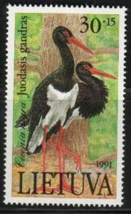 Bird, Black Stork, Ciconia Nigra, Lithuania SC#403 mint