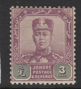 MALAYA JOHORE SG80 1912 3c DULL PURPLE & OLIVE-BLACK MTD MINT