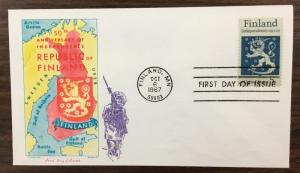Overseas Mailer  1334   Finland Independence.  Jackson  Cover.  Issued in 1967.