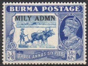 Burma 19453a.6p light blue and blue (Burma rice) with 'Mily Admn' ovpt MH