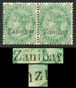 Zanzibar SG8k SG8D 2 1/2a Yellow-green pair with Zanibar Flaw and Small z M/M