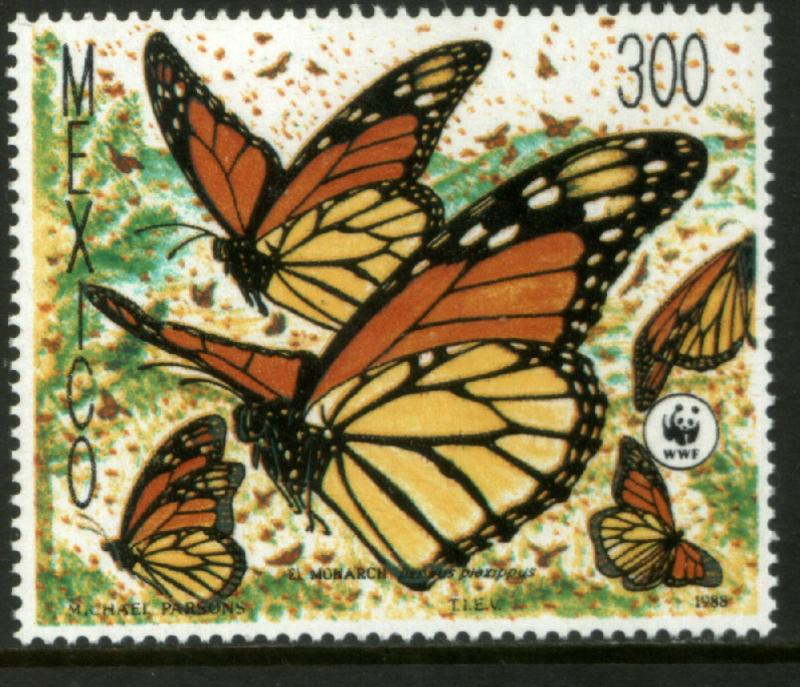 MEXICO 1562, Monarch Butterflies, World Wildlife Fund  UNUSED, HINGED, NG. VF.