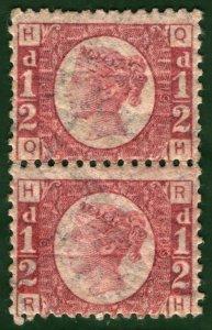 GB QV Stamps SG.48/49 ½d Plate 19 (1870-79) PAIR Mint UMM MNH Cat £600++* RRED83