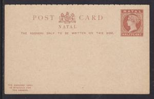 Natal H&G 5 mint 1891 ½p Double Card, VF