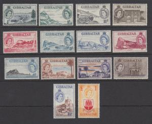 Gibraltar Sc 132-145 MNH. 1953 QEII & Views cplt, VF & Scarce