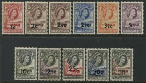 Bechuanaland QEII 1961 set overprinted 1 cent to 1 rand mint o.g. hinged