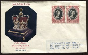 New Hebrides QEII 1953 Coronation cacheted FDC with a pair of Coronation stamps