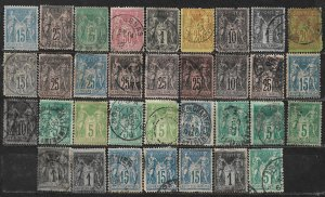 COLLECTION LOT OF 34 FRANCE 1876+ STAMPS CLEARANCE