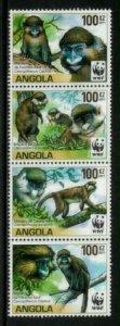 Angola #1364 MNH Strip - World Wildlife Fund - Monkeys