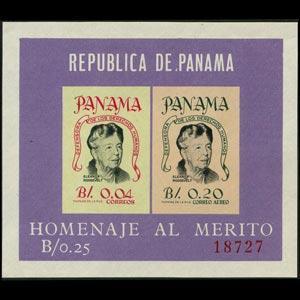 PANAMA 1964 - Scott# C330a S/S Eleanor Roosevelt NH