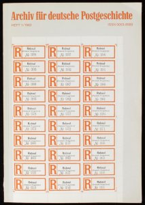 GERMANY : 'Archiv for Deutsche Postgeschichte' Heft 1/1982.
