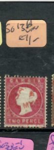 GAMBIA (P1412B)  QV CAMEO  2D  SG 13A RED CANCEL  VFU ANTIQUE OVER 100 YEARS OLD