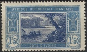 Ivory Coast 73 (mvlh) 1.50fr river scene, lt blue & deep blue (1930)