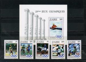 ZAIRE 1984 Sc#1154-1159 SUMMER OLYMPIC GAMES LOS ANGELES 5 STAMPS & S/S MNH