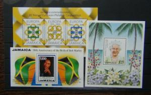 Jamaica 1995 Queen Mother Bob Marley 2005 Europa Miniature Sheet MNH