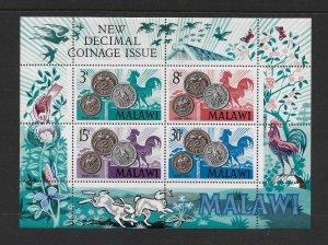 BIRDS - MALAWI #164a  BIRDS ON COINS   MNH