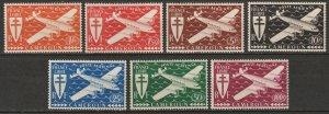 Cameroun 1942 Sc C1-7 Yt PA12-8 air post set MLH*