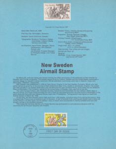 REDUCED!! 1988 NEW SWEDEN AIRMAIL FDC SOUVENIR PAGE