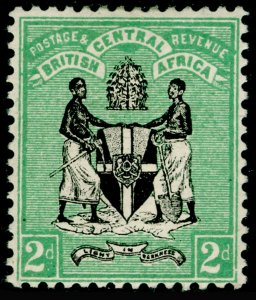 NYASALAND - BCA SG22, 2d Black and Green, M MINT. Cat £55.