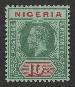 NIGERIA : 1914 KGV 10/- green & red on blue-green, white back, wmk mult crown.