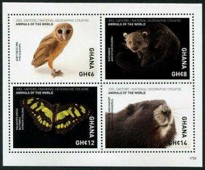 HERRICKSTAMP NEW ISSUES GHANA Sc.# 2943 National Geographic Animals Sheetlet