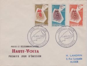 Upper Volta 5F, 6F and 8F Monkey Mask and Monkey 1960 Premier Jour, Ouagadoug...
