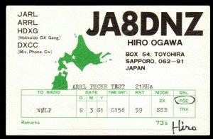 QSL QSO RADIO CARD JA8DNZ,Hiro Ogawa,Map of Japan, Sapporo,Japan (Q3526)