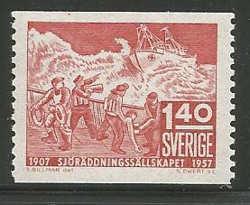 SWEDEN 500, MINT HINGED, SHIP IN DISTRESS LIFEBOAT