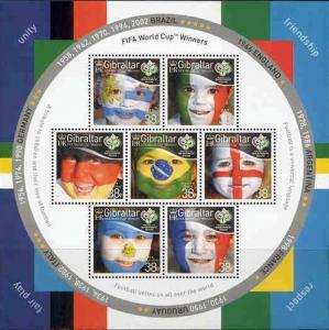 Gibraltar Wholesale - 10 Sheets #1039, World Cup Champs Below Face!