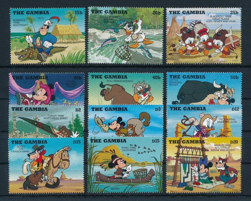 [22391] Gambia 1995 Disney Characters as cowboys and Indians MNH