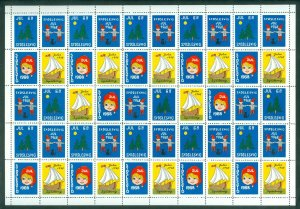 Denmark. 1968 Southslesvig Christmas Sheet MNH Santa, Ship, Flag, Tree, Star.