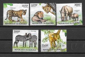 Burundi MNH Set Of 5 Mammals Fauna 2012