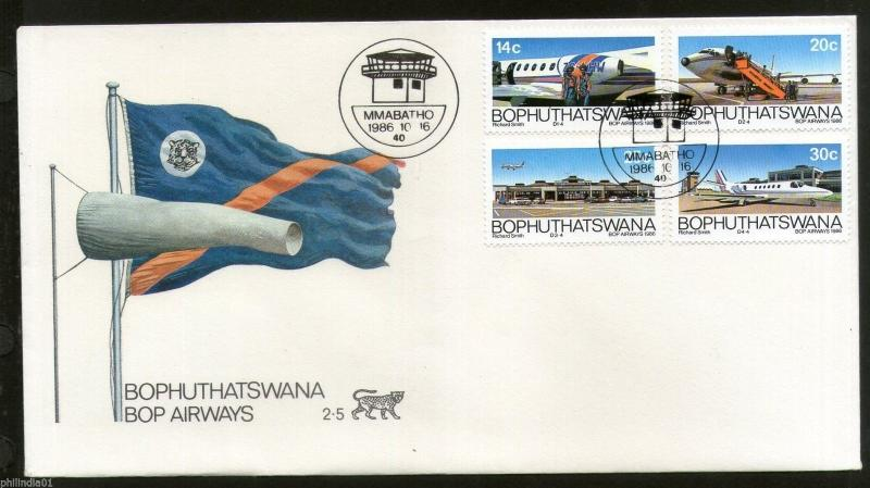 Bophuthatswana 1986 Airways Aircraft Aviation Flag Transport Sc 184-7 FDC #16433