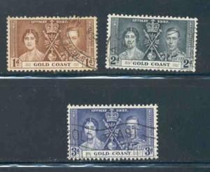 Gold Coast Sc 112-14 1937 Coronation George VI stamp set used