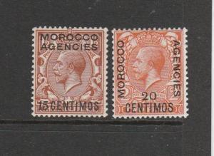 Morocco Agencies Spanish 1914/26 15c & 20c MM SG 131/2