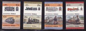 Nanumaga-Tuvalu-Sc#29-32- id6-unused NH set-Trains-Locomotives-1985-