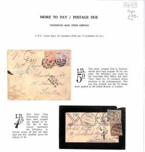 Ap157 1893 GB Underpaid Mail Australia Switzerland 2 x Items Cover {samwells}