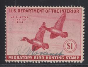 US Sc RW10 used 1943 $1 Wood Ducks, Duck Stamp sound & F-VF