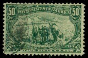 US #291, 50¢ Trans-Mississippi, used, VF, Scott $175.00