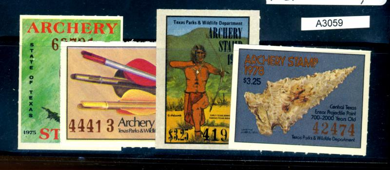 Texas Archery Stamps 1975-8 MINT VF