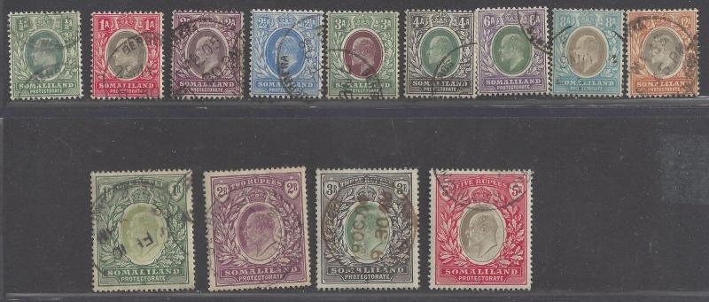 Somaliland stamps 1903 QV 21/2 a - 5r complete set (SG18-30) VFU ₤450 / $630