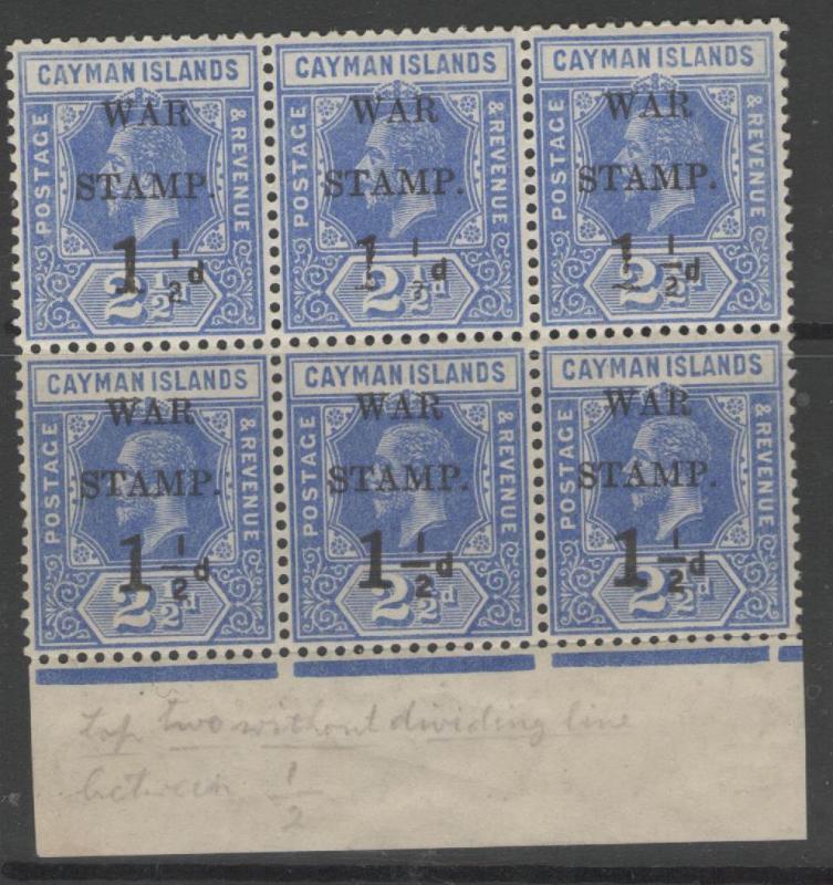 CAYMAN ISLANDS SG54+54a(x2) 1917 1½d on 2½d DEEP BLUE BLOCK OF 6 MNH