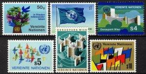 UN Vienna 1979, Mi 1-6 First issues, Flag, symbols set VF MNH
