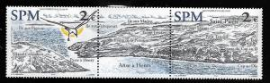 ST. PIERRE & MIQUELON 746 MNH HENRY COVE STRIP OF 2 WITH LABEL