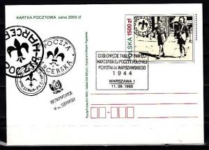 Poland, 1993 issue. Scouting Postal Card. First day Cancel.