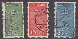 Denmark # B3-5, Crown & Staff, Used, 1/2 Cat.