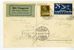 Switzerland Rare Early Flight Post Card Very clean