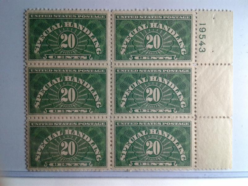 SCOTT # QE3 PLATE BLOCK OF 6 20 CENT SPECIAL HANDLING MINT NEVER HINGED GEM !!!
