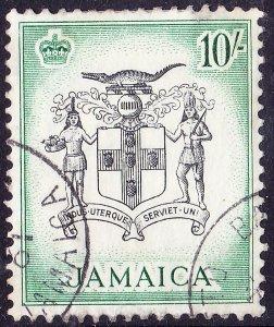 JAMAICA 1956 QEII 10/- Black & Blue-Green SG173 FU
